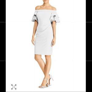 RALPH LAUREN Tiered Capelet Off-the-Shoulder Dress
